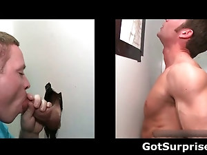 Straight guy has cock sucked by dude