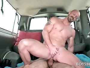 Bus gay anal sex with tattoed stud