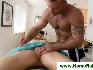 Blowjob for straight guy after massage