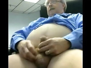 Daddy jerks off at the office and spills his cum