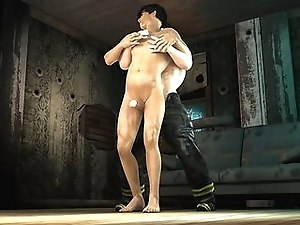 Muscular 3D cartoon hunk gets fucked in the ass by a fireman