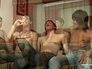 Three Latin Twinks Group Sex Orgy