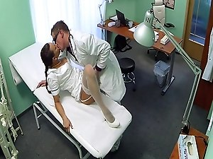 Lingerie nurse sucking doctor on spycam