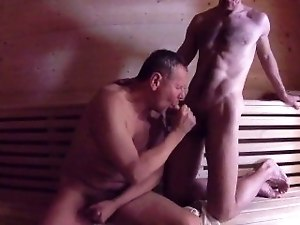 Daddy Fucks Son Bareback in Sauna - Younger Older Mature