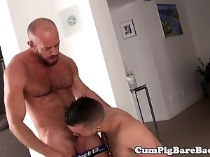 Mature bear cocksucked before bareback