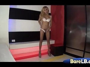 Horny ladyboy Candy strokes dick and plays with lover's manhood