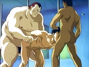 Anime man with six pack gangbanged