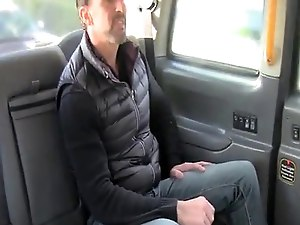 Bigtitted london cabbie cockrides on backseat